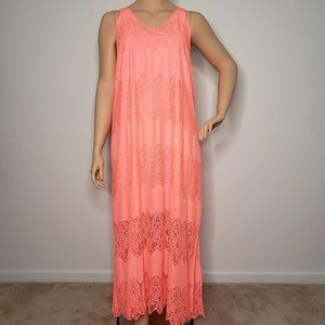 Lane Bryant Orange V Neck Lace Maxi Dress 26 28